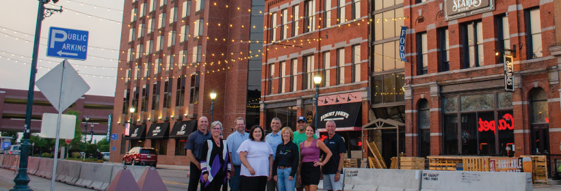 Blattner Collaborates to add more Festoon Lights to Downtown St. Cloud as part of Industry Milestone Celebration.